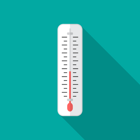 Thermometer icon with long shadow. Flat design style. Thermometer simple silhouette. Modern, minimalist icon in stylish colors. Web site page and mobile app design vector element.