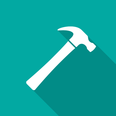 Hammer icon with long shadow. Flat design style. Hammer simple silhouette. Modern, minimalist icon in stylish colors. Web site page and mobile app design vector element. Stock Illustratie