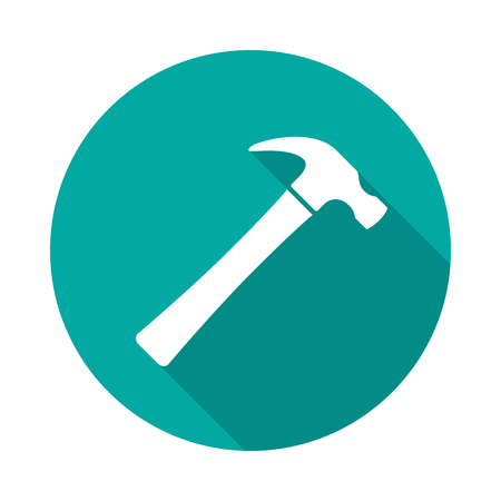 Hammer circle icon with long shadow. Flat design style. Hammer simple silhouette. Modern, minimalist, round icon in stylish colors. Web site page and mobile app design vector element. Vettoriali