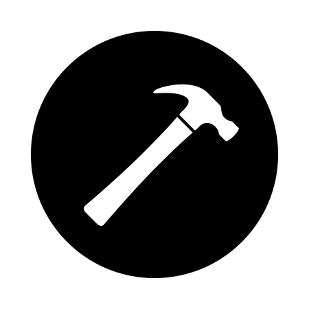 Hammer circle icon. Black, round, minimalist icon isolated on white background. Hammer simple silhouette. Web site page and mobile app design vector element. Stock Illustratie