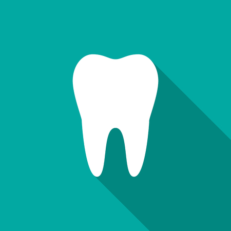 Tooth icon with long shadow. Flat design style. Tooth simple silhouette. Modern, minimalist icon in stylish colors. Web site page and mobile app design vector element. Illustration