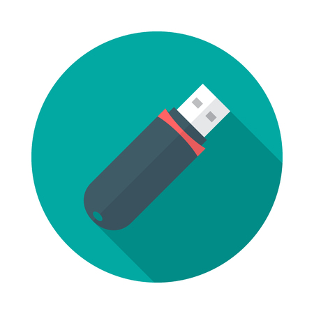 USB flash drive circle icon with long shadow. Flat design style. USB flash drive simple silhouette. Modern, minimalist, round icon in stylish colors. Web site page and mobile app design vector element.