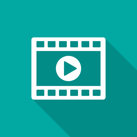Video clip player icon with long shadow. Flat design style. Movie player icon simple silhouette. Modern, minimalist icon in stylish colors. Web site page and mobile app design vector element.