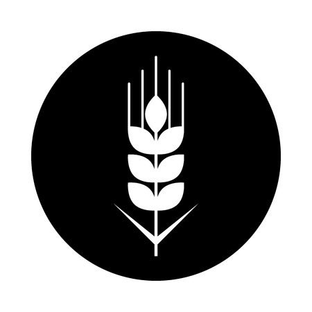 Wheat grain circle icon. Black, round, minimalist icon isolated on white background. Wheat grain simple silhouette. Web site page and mobile app design vector element.