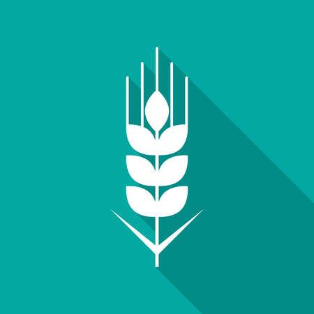 Wheat grain icon with long shadow. Flat design style. Wheat grain simple silhouette. Modern, minimalist icon in stylish colors. Web site page and mobile app design vector element.