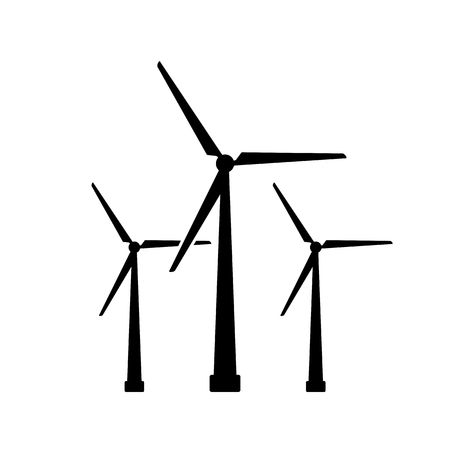 Wind turbine icon. Black, minimalist icon isolated on white background. Windmill simple silhouette.