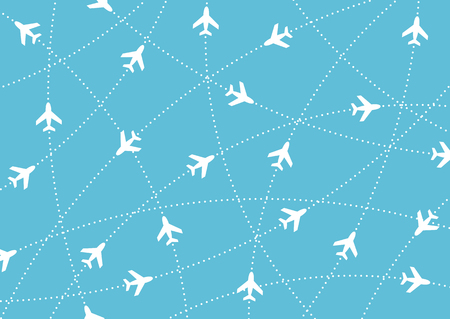 Airplane routes. Air travel. Air traffic silhouette. White airplanes isolated on blue background. Web site page and mobile app design element. Illustration