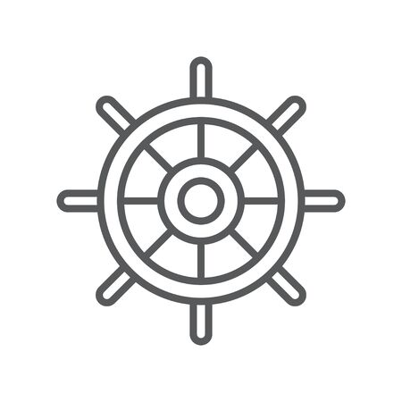 Boat steering wheel line icon. Minimalist icon isolated on white background. Ship helm simple silhouette. Web site page and mobile app design vector element. Illustration