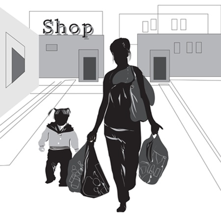 child walking: woman  with child walking from the shop