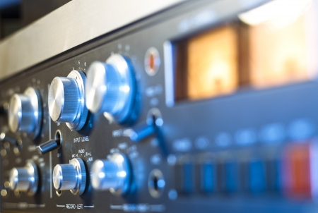 analogue: analogue input level on old tape recorder  Stock Photo