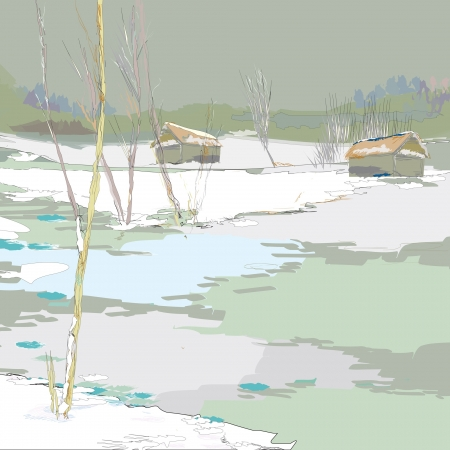 wintertime: Illustration of wintertime with couple of houses and frozen lake Illustration