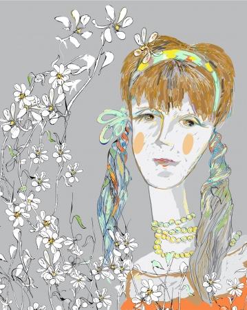 beautiful teenage girl: hand drawn in childish style young beautiful teenage girl dreaming, daisy pattern around, vector and illustration
