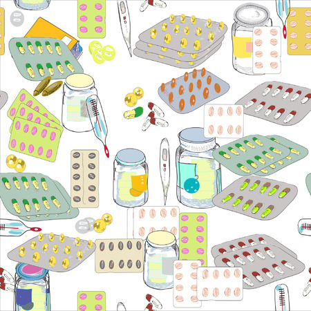 pills and thermometers seamless hand drawn pattern, modern apothece concept Vector