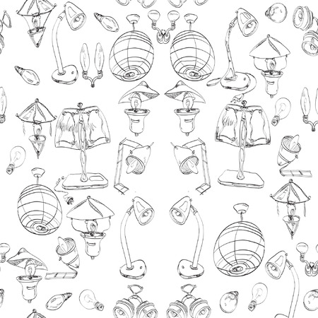 electric light, assorted bulbs hand drawn black and white seamless pattern Vector