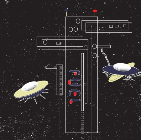 space station: hand drawn vector of space fuel station with two alient starships waiting to get fuel,  across scratched black sky, concept of transportation