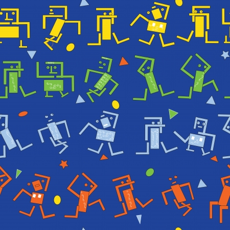 sapien: seamless pattern of dancing robots, vector drawn in primitive manner