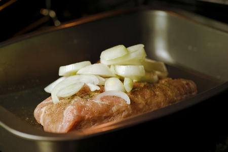 Piece of fresh pork, salted and peppered with onion on the top ready to go in oven, close up indoor shot photo