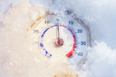 retro thermometer under snow melting, spring is coming, it s getting warmer