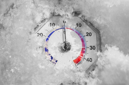 retro thermometer under snow melting, black and white digitally altered photo with a scale left in color photo