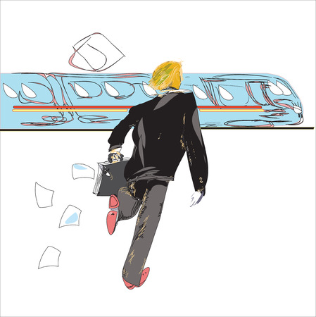 oblivious: hand drawn sketch in doodle style of a businessman running to train, concept of value of time