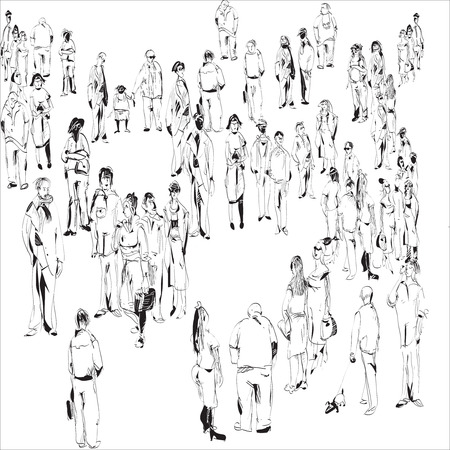 sketch of waiting crowd, modern looking people, peacefully standing together, hand drawn illustration in black and white