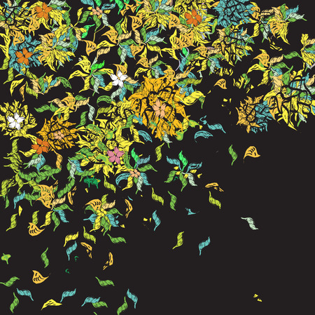 chaotic: chaotic weird floral pattern, illustration and vector on black