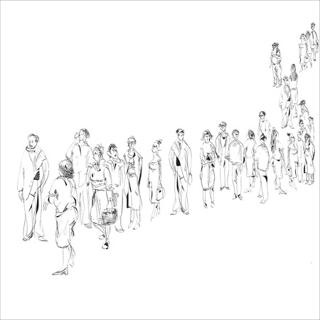 hand drawn black and white sketch in doodle style of people in queue Vectores