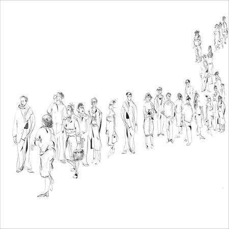 file d attente: tiré par la main croquis noir et blanc dans le style doodle de personnes en attente Illustration