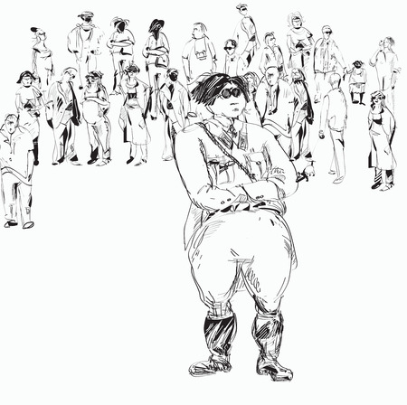 Sketch of a military looking  leader and crowd in primitive manner, black and white  concept of leadership