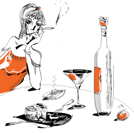 young woman smoking and having a glass of wine black and white illustration Vector