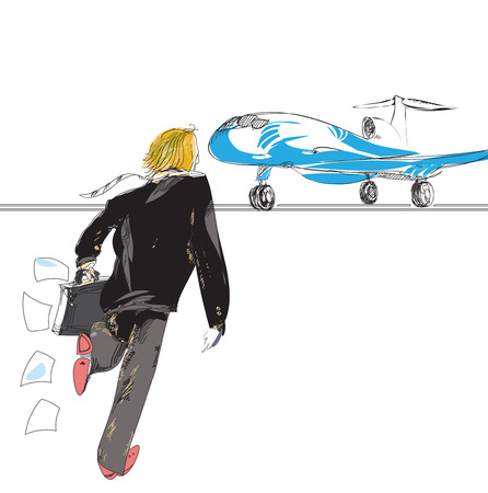 oblivious: hand drawn sketch in doodle style of a businessman running to plane, loosing his papers, concept of value of time