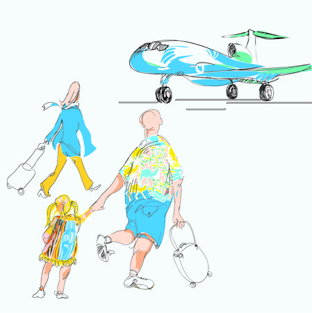 hand drawn sketch in doodle style of a family late for a plane. Concept of going on vacation. Vector