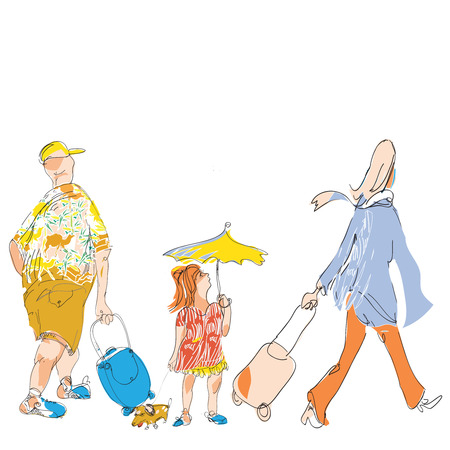 scarf beach: hand drawn sketch in doodle style of a family with luggage going for vacation on white.