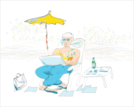 non: hand drawn sketch of a businessman on vacation, non stop working even at resort. Concept of workaholism.