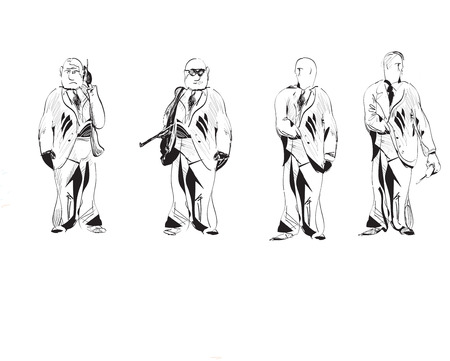 devoir: dessin�s � la main croquis noir et blanc des gars de la s�curit� en service. Concept de travail d'�quipe.