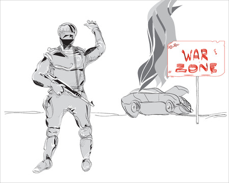 road closed: Hand drawn in doodle style soldier with a gun machine and tipped over burning car, precaution War Zone. Concept of modern conflicts  Illustration