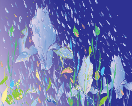 Hand drawn flower pattern under the pouring rain Vector