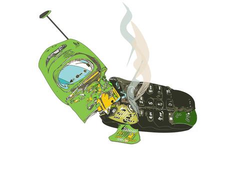 crashed: Crashed cellphone. Illustration in a simple manner.
