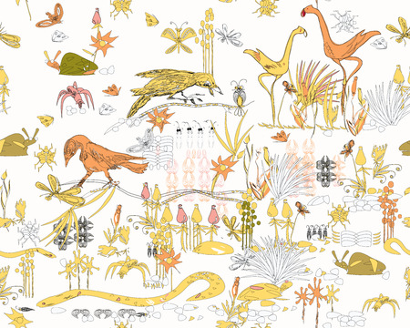 crouch:  seamless  pattern of jungle life - insects, birds, plants, snakes and other, all hand drawn in primitive manner Illustration