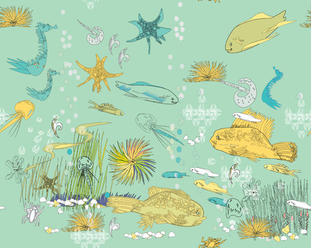 Hand drawn in cartoon style  seamless pattern of sea life Vector