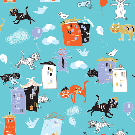 crouch: Cats, birds and houses, hand drawn in doodle style, seamless pattern Illustration