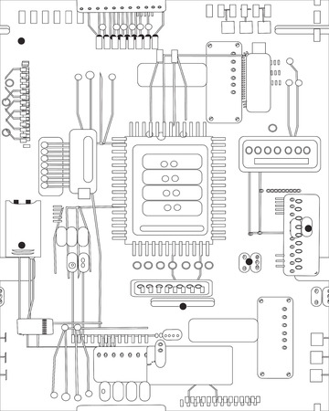 Hand drawn abstract schematic circuit board seamless pattern, concept of modern computer technologies Vector