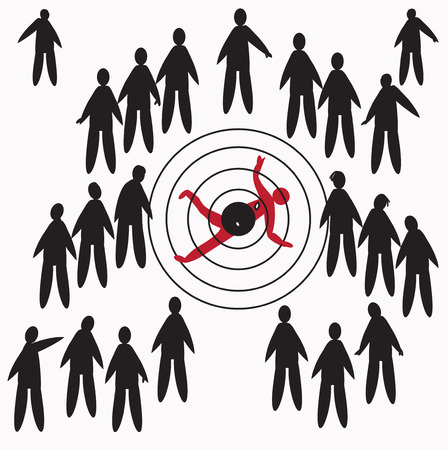 tripped: Illustration of a crowd and a one man shot down, concept of curiosity and human indifference  Hand drawn silhouettes in simple manner
