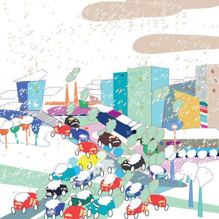 nasty: City traffic in a nasty snowy weather, hand drawn vector in a doodle style Illustration