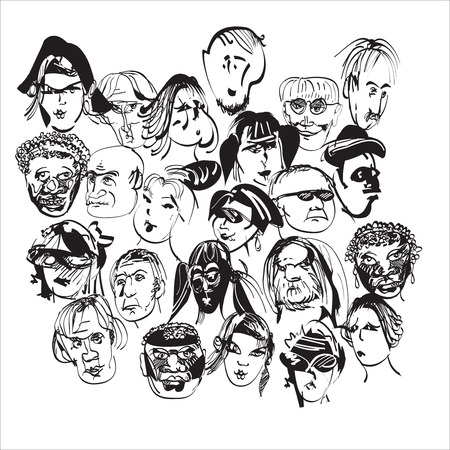 looking straight:  modern looking faces, concept of crowd,  hand drawn illustration in black and white in doodle style