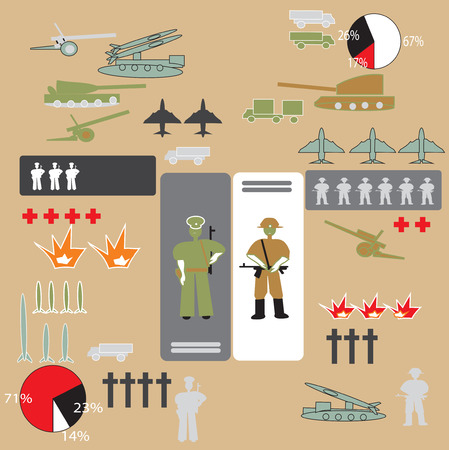 howitzer: Military infographic with soldiers, tanks, bombs, drawn in vector