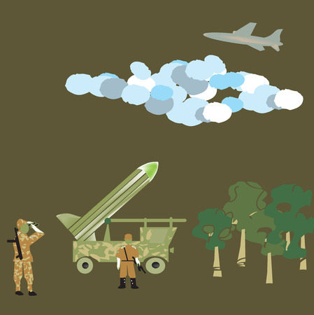 ballistic: target locked - Antiaircraft unit on the position of missile launch, airplane in the sky, hand drawn in primitive funny manner illustration
