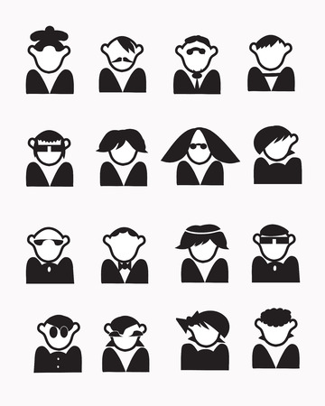 funny people: Funny people images set, icons for contacts, isolated on white Illustration