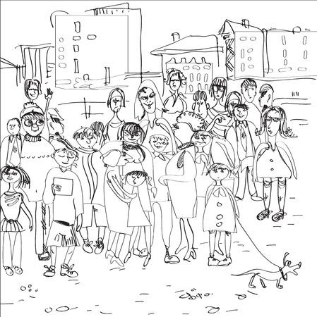 ふだん着: 手都市景観の前にカジュアルな服装で探している現代人のイラストを描いた  イラスト・ベクター素材