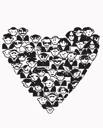 team mate: Illustration of different characters in a shape of a heart, concept of friendship in black and white